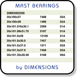 mast bearings by dimension